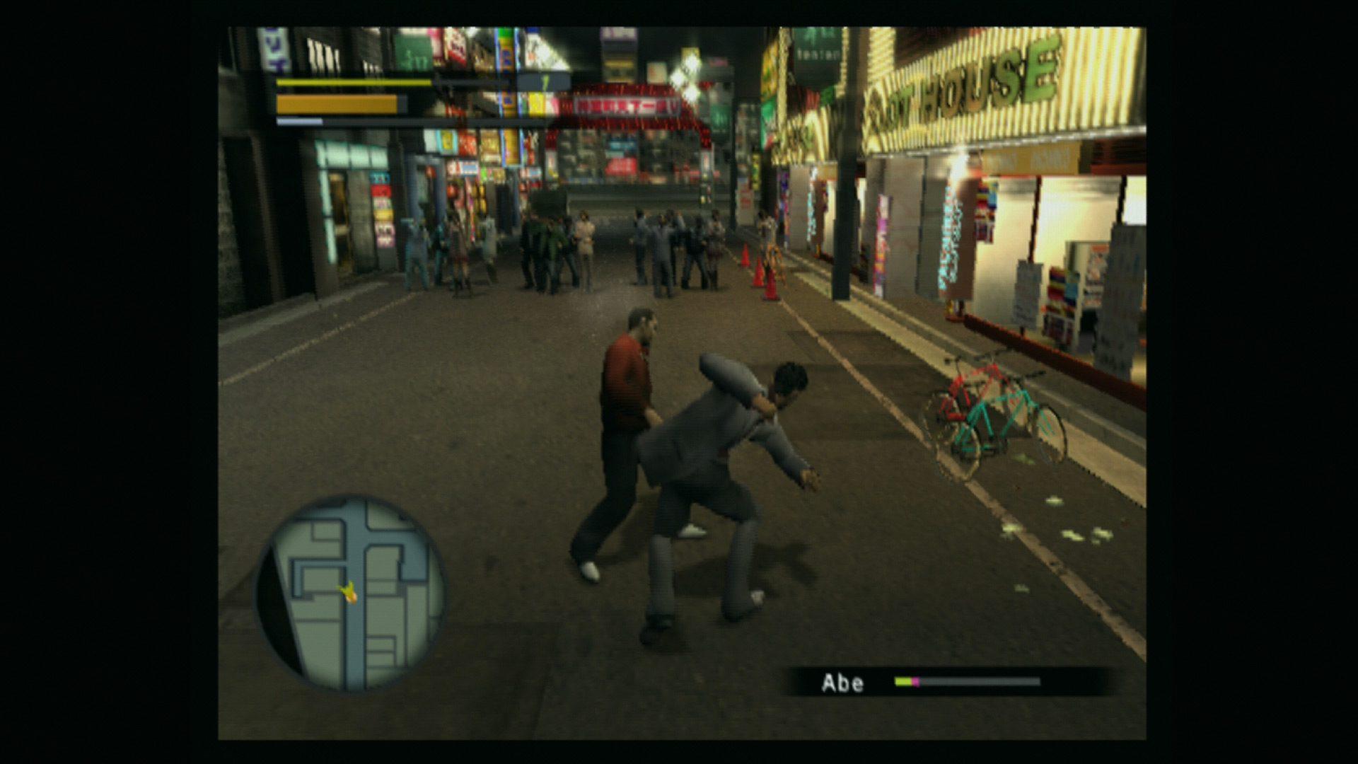 Yakuza 1 played on a CRT