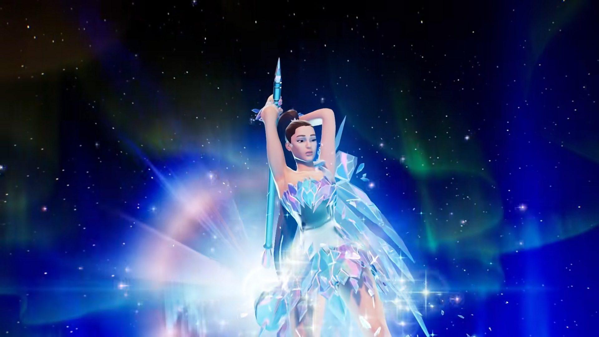 Ariana Grande performing in Fortnite