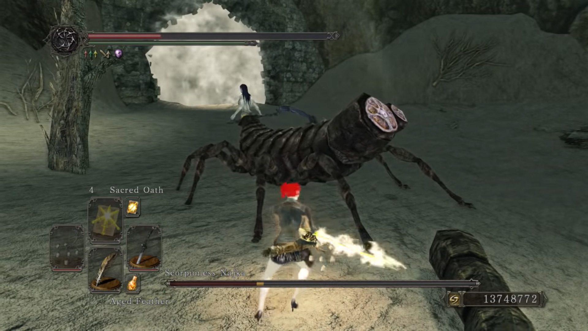 Cutting off a Najka's stinger in Dark Souls II