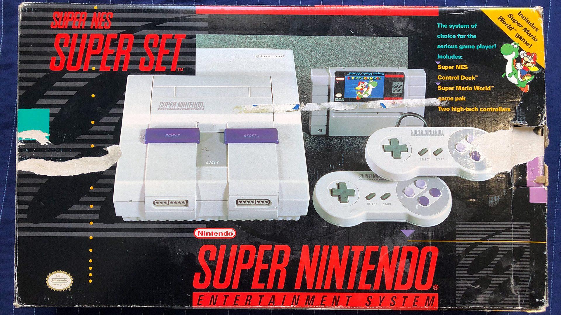 Well-worn packaging for the Super Nintendo Super Set bundle
