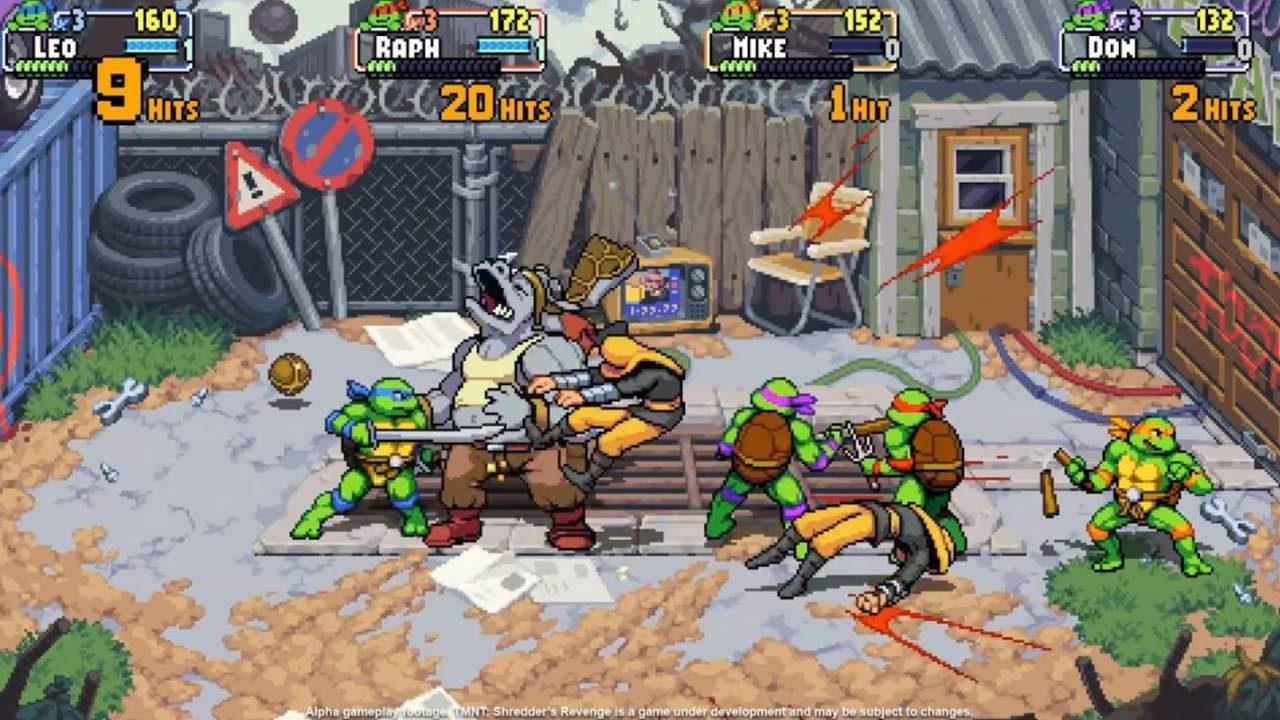 Pummeling Rocksteady in Teenage Mutant Ninja Turtles: Shredder's Revenge