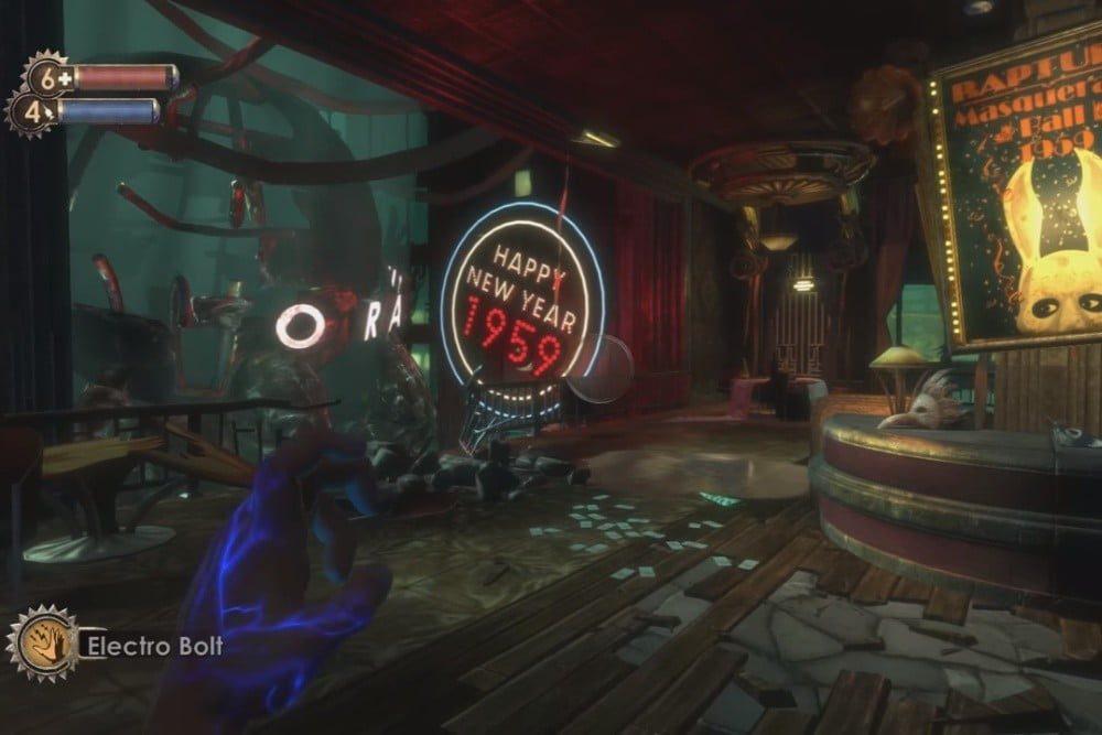A fallen Happy New Year sign in BioShock