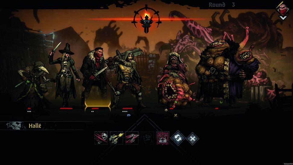 Battling hellish creatures in Darkest Dungeon II
