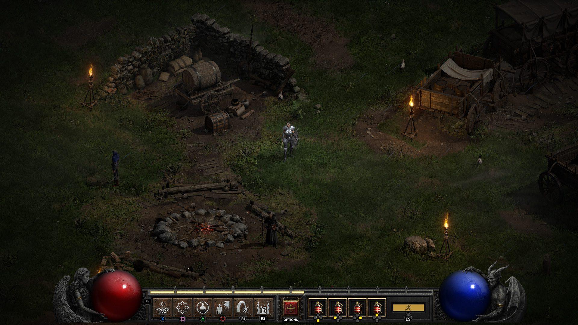 Diablo II: Resurrected controller hotbar
