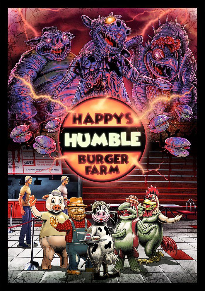 A creepy poster for Happy's Humble Burger Farm