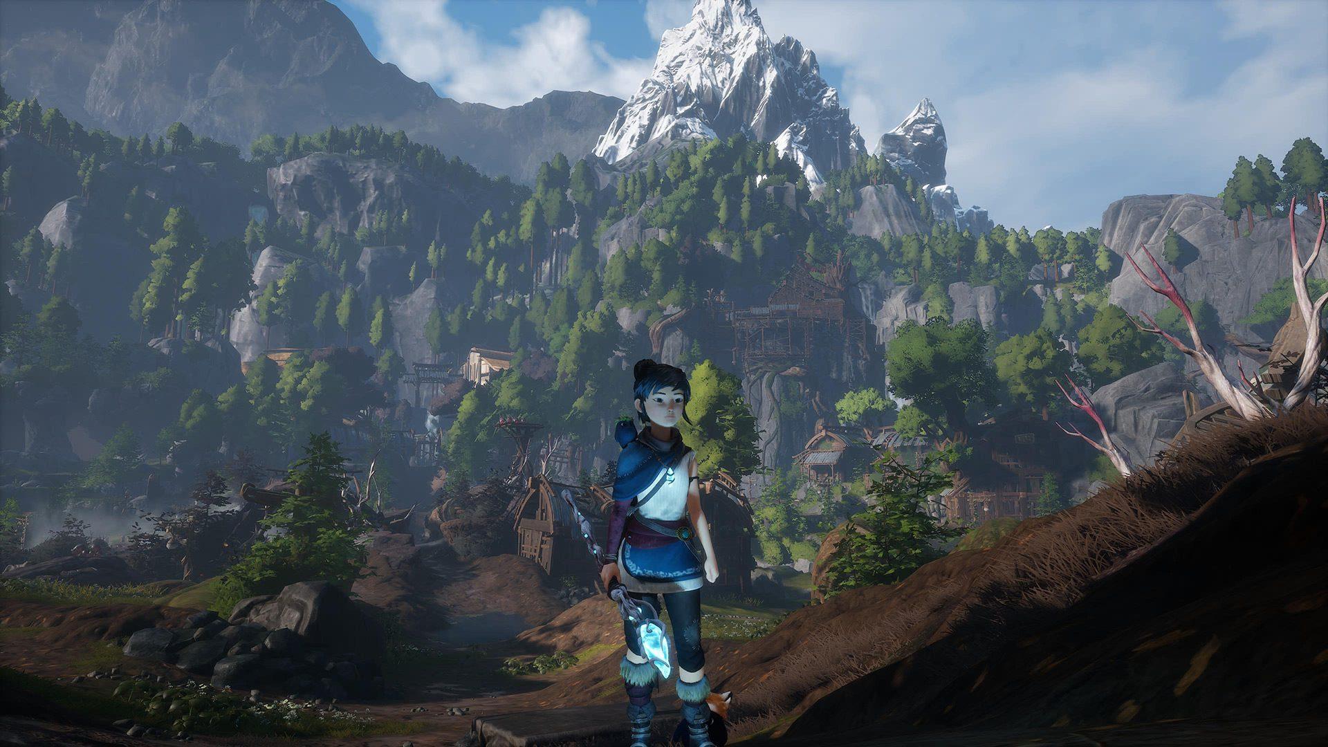 The mountain backdrop in Kena: Bridge of Spirits