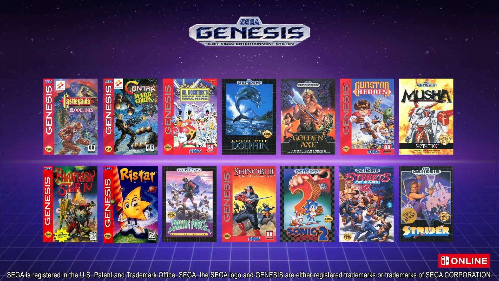 Nintendo Switch Online Sega Genesis games
