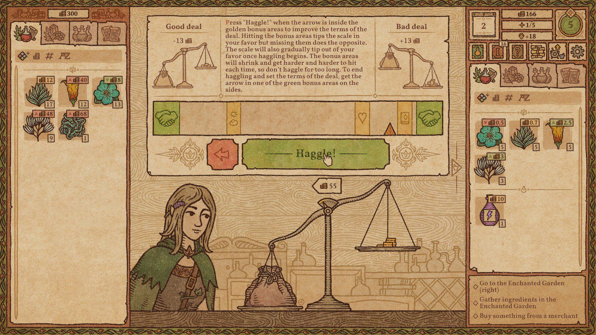 The haggling mini-game in Potion Craft: Alchemist Simulator