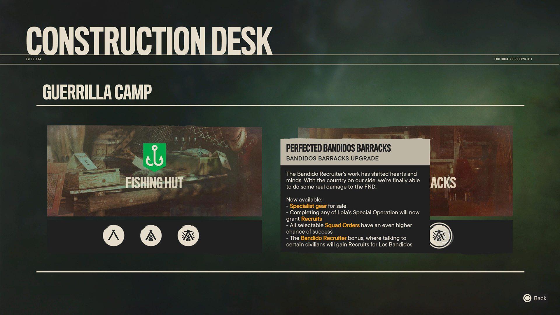 Perfected Bandidos Barracks perks in Far Cry 6